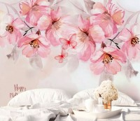 Watercolor Pink Flower and Butterflies