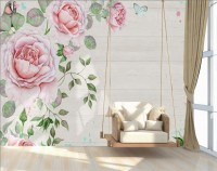 Watercolor Pink Rose Floral with Bird Wallpaper Mural