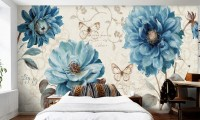 Watercolor Turquoise Peony Floral Wallpaper Mural