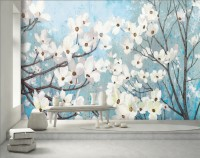 Watercolor White Florals with Blue Sky Wallpaper Mural
