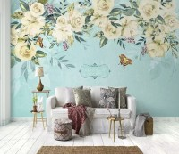 White Flowers and Yellow Butterfly Wallpaper Mural