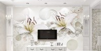 White Lily Floral Wallpaper Mural