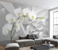 White Orchid Floral with Abstract Stripe Wallpaper Mural