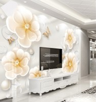 Yellow Floral with Gold Butterfly Wallpaper Mural