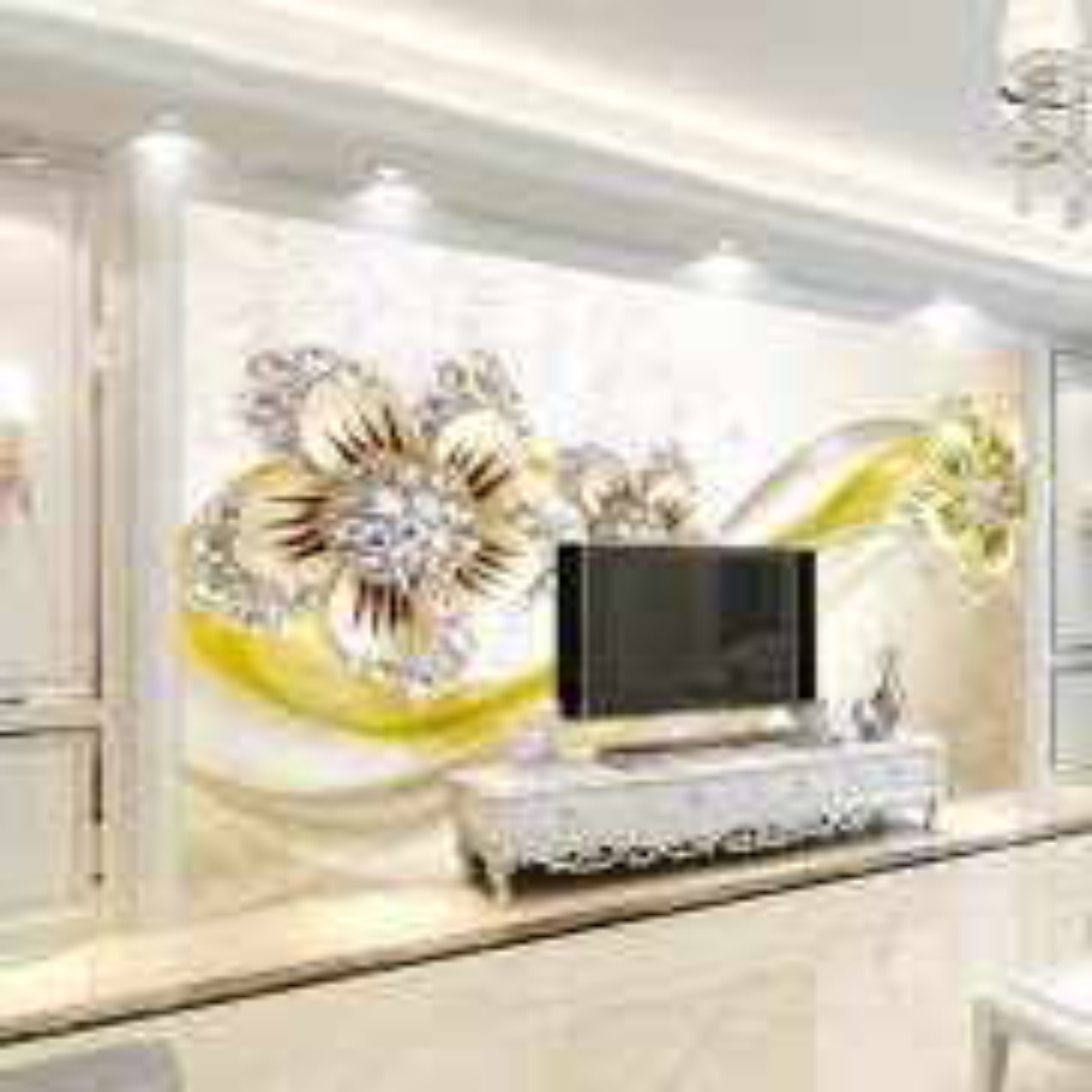 Yellow Swarovski Daisy Flower Wallpaper Mural