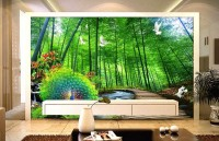 3D Look Forest Landscape and Peacock Wallpaper Mural