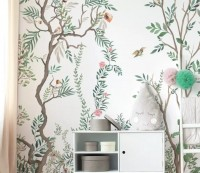 Chinoiserie Style Tree Floral Wallpaper Mural