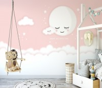 For Baby Sleeping Moon and Clouds Wallpaper Mural