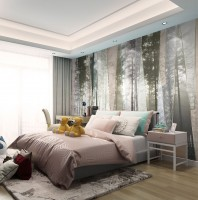 Misty Forest Landscape with Geometric Wallpaper Mural