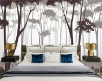 Monochrome Brown Forest and Tree Silhouette Wallpaper Mural