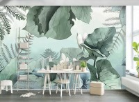 Tropical Forest Drawing Art Wallpaper Mural