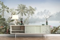 Vintage Forest with Lakescape Wallpaper Mural
