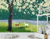 Watercolor Forest with Peach Blossom Wallpaper Mural