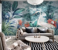 Watercolor Painting Forest and Storks Wallpaper Mural