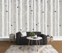 White Tree Branches Wallpaper Mural