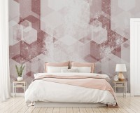 Abstract Pink Geometric Pattern Wallpaper Mural
