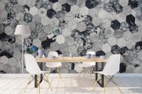 Dark Geo Hexagon Pattern Wallpaper Mural