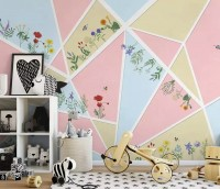 Flowery with Geometric Shapes Wallpaper Mural
