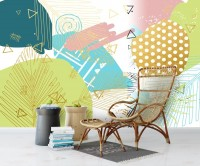 Geometric Colorful Brush Wallpaper Mural