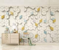 Geometric Honeycomb Pattern Wallpaper Mural