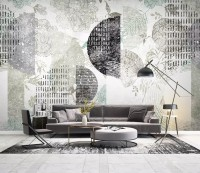 Geometric Pattern with Floral Wallpaper Mural