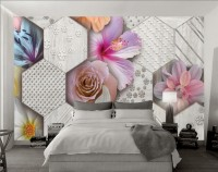 Hexagon Pattern with Colorful Floral Wallpaper Mural