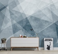 Indigo Style Watercolor Geometric Wallpaper Mural