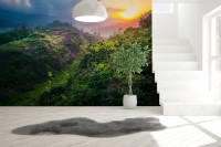 Green Mountains with Sunset Landscape Wallpaper Mural