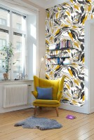 Watercolor Gold Black Leaf Wallpaper Wallpaper Mural