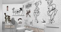 Monochrome Barbershop and Haircut Wallpaper Mural