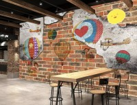 Hot Air Balloon with Young People on Brick Wallpaper Mural