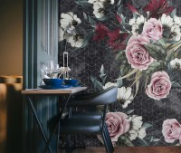 Colorful Floral with Dark Geometric Pattern Wallpaper Mural