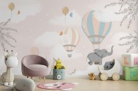 Kids Hot Air Balloons with Elephant Wallpaper Mural
