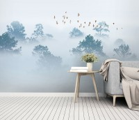 Misty Forest with Birds Wallpaper Mural