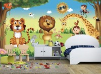 3D Look King Lion and Wild Animals Wallpaper Mural
