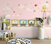 Animal Train with Planets Wallpaper Mural