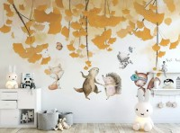 Autumn Leaves with Cartoon Animals Wallpaper Mural