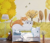 Autumn Trees and Cartoon Cats Wallpaper Mural