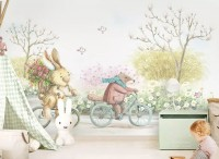Cartoon Bear in the Flower Garden Wallpaper Mural