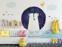 Cartoon Bear with Nightscape Wallpaper Mural