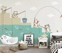 Cartoon Cats Fishing Wallpaper Mural