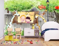 Cartoon Forest with Cute Animal Wallpaper Mural