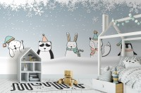 Cartoon Fox and Panda Winter Animals Wallpaper Mural