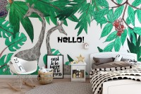 Cartoon Giraffe with Leaf Wallpaper Mural