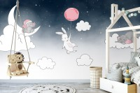 Cartoon Nightscape with Rabbit and Elephant Wallpaper Mural