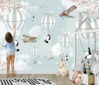Cartoon Pandas with Hot Air Balloons Wallpaper Mural