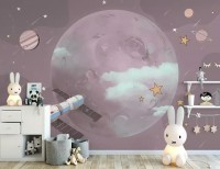 Cartoon Planets and Starry Space Wallpaper Mural