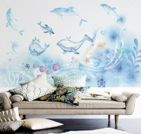 Cartoon Undersea and Whales Wallpaper Mural