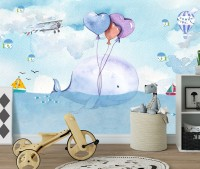 Cartoon Whale Sea Landscape Wallpaper Mural