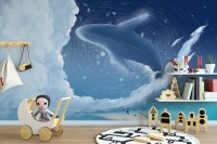 Cartoon Whale with Nightscape Wallpaper Mural